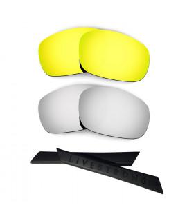 HKUCO 24K Gold/Titanium Polarized Replacement Lenses plus Black Earsocks Rubber Kit For Oakley Racing Jacket