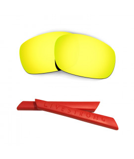 HKUCO 24K Gold Polarized Replacement Lenses plus Red Earsocks Rubber Kit For Oakley Jawbone