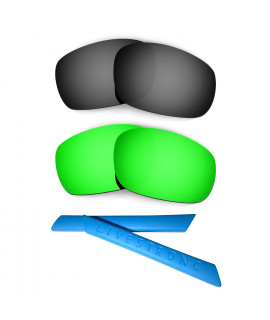 HKUCO Black/Green Polarized Replacement Lenses plus Blue Earsocks Rubber Kit For Oakley Racing Jacket