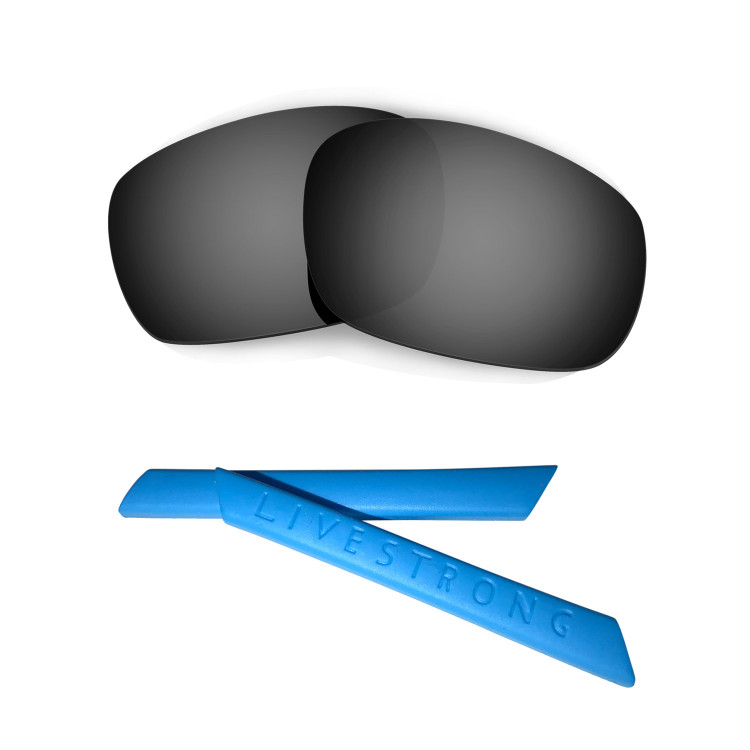 HKUCO Blue Polarized Replacement Lenses plus Blue Earsocks Rubber Kit For Oakley Jawbone NO4Y1qs