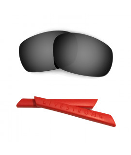 HKUCO Black Polarized Replacement Lenses plus Red Earsocks Rubber Kit For Oakley Racing Jacket