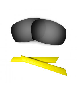 HKUCO Black Polarized Replacement Lenses plus Yellow Earsocks Rubber Kit For Oakley Racing Jacket