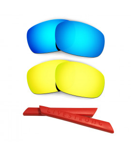 HKUCO Blue/24K Gold Polarized Replacement Lenses plus Red Earsocks Rubber Kit For Oakley Racing Jacket