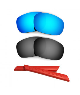 HKUCO Blue/Black Polarized Replacement Lenses plus Red Earsocks Rubber Kit For Oakley Racing Jacket