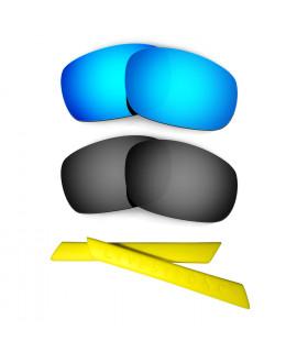 HKUCO Blue/Black Polarized Replacement Lenses plus Yellow Earsocks Rubber Kit For Oakley Racing Jacket