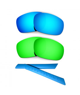 HKUCO Blue/Green Polarized Replacement Lenses plus Blue Earsocks Rubber Kit For Oakley Racing Jacket