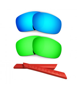 HKUCO Blue/Green Polarized Replacement Lenses plus Red Earsocks Rubber Kit For Oakley Racing Jacket