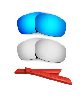 HKUCO Blue/Titanium Polarized Replacement Lenses plus Red Earsocks Rubber Kit For Oakley Jawbone