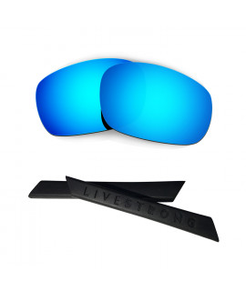 HKUCO Blue Polarized Replacement Lenses plus Black Earsocks Rubber Kit For Oakley Racing Jacket