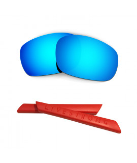 HKUCO Blue Polarized Replacement Lenses plus Red Earsocks Rubber Kit For Oakley Racing Jacket