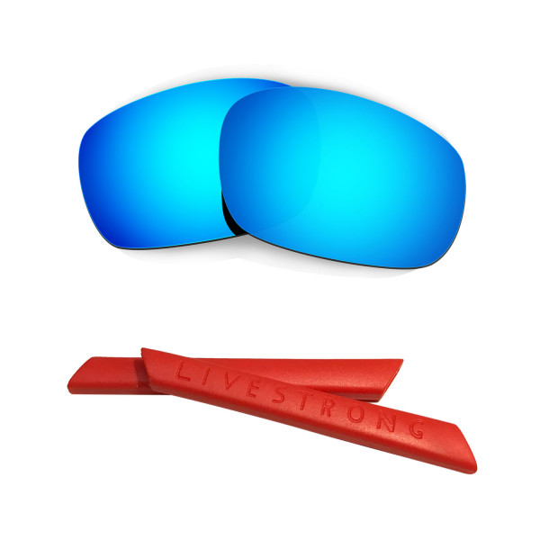 HKUCO Blue Polarized Replacement Lenses plus Red Earsocks Rubber Kit For Oakley Jawbone