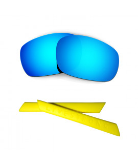HKUCO Blue Polarized Replacement Lenses plus Yellow Earsocks Rubber Kit For Oakley Racing Jacket