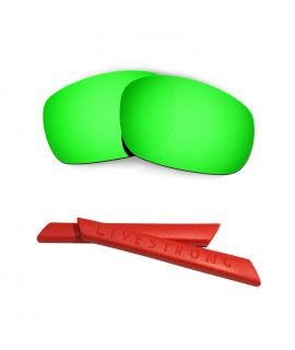 HKUCO Green Polarized Replacement Lenses plus Red Earsocks Rubber Kit For Oakley Racing Jacket