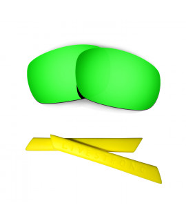 HKUCO Green Polarized Replacement Lenses plus Yellow Earsocks Rubber Kit For Oakley Racing Jacket