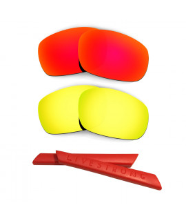 HKUCO Red/24K Gold Polarized Replacement Lenses plus Red Earsocks Rubber Kit For Oakley Racing Jacket