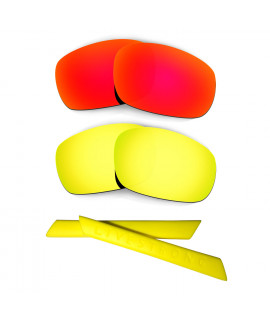 HKUCO Red/24K Gold Polarized Replacement Lenses plus Yellow Earsocks Rubber Kit For Oakley Racing Jacket
