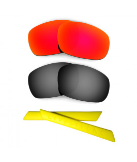 HKUCO Red/Black Polarized Replacement Lenses plus Yellow Earsocks Rubber Kit For Oakley Racing Jacket
