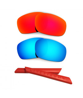 HKUCO Red/Blue Polarized Replacement Lenses plus Red Earsocks Rubber Kit For Oakley Racing Jacket