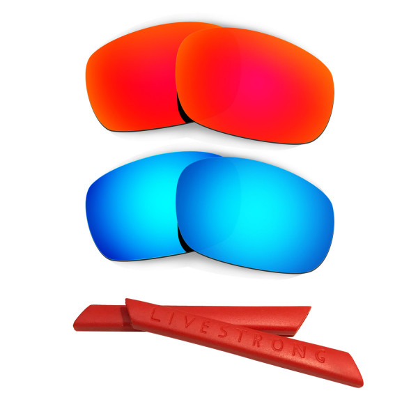 HKUCO Red/Blue Polarized Replacement Lenses plus Red Earsocks Rubber Kit For Oakley Jawbone