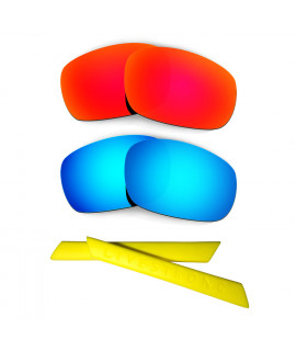 HKUCO Red/Blue Polarized Replacement Lenses plus Yellow Earsocks Rubber Kit For Oakley Racing Jacket