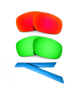 HKUCO Red/Green Polarized Replacement Lenses plus Blue Earsocks Rubber Kit For Oakley Racing Jacket