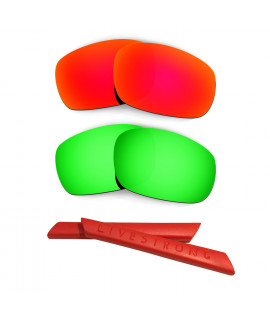 HKUCO Red/Green Polarized Replacement Lenses plus Red Earsocks Rubber Kit For Oakley Racing Jacket