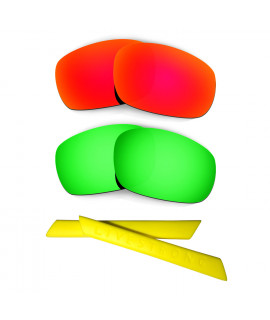 HKUCO Red/Green Polarized Replacement Lenses plus Yellow Earsocks Rubber Kit For Oakley Racing Jacket