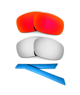 HKUCO Red/Titanium Polarized Replacement Lenses plus Blue Earsocks Rubber Kit For Oakley Racing Jacket