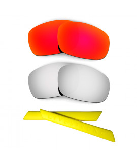HKUCO Red/Titanium Polarized Replacement Lenses plus Yellow Earsocks Rubber Kit For Oakley Racing Jacket