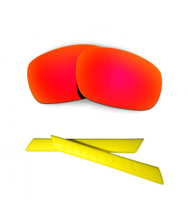 HKUCO Red Polarized Replacement Lenses plus Yellow Earsocks Rubber Kit For Oakley Racing Jacket