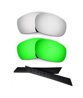 HKUCO Silver/Green Polarized Replacement Lenses plus Black Earsocks Rubber Kit For Oakley Racing Jacket