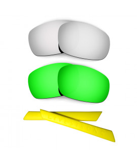 HKUCO Silver/Green Polarized Replacement Lenses plus Yellow Earsocks Rubber Kit For Oakley Jawbone