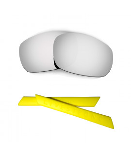 HKUCO Silver Polarized Replacement Lenses plus Yellow Earsocks Rubber Kit For Oakley Racing Jacket