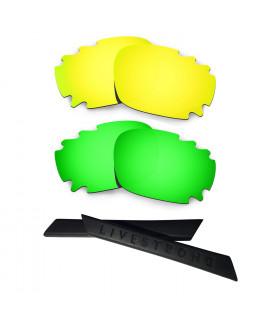 HKUCO 24K Gold/Green Polarized Replacement Lenses plus Black Earsocks Rubber Kit For Oakley Racing Jacket Vented