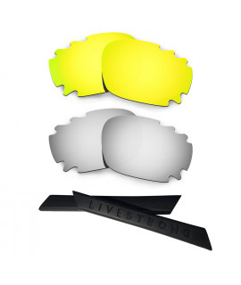 HKUCO 24K Gold/Titanium Polarized Replacement Lenses plus Black Earsocks Rubber Kit For Oakley Racing Jacket Vented