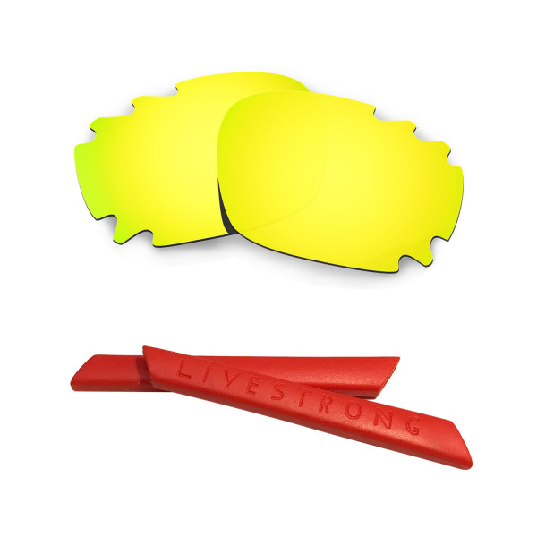 HKUCO 24K Gold Polarized Replacement Lenses plus Red Earsocks Rubber Kit For Oakley Racing Jacket Vented