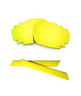HKUCO 24K Gold Polarized Replacement Lenses plus Yellow Earsocks Rubber Kit For Oakley Racing Jacket Vented