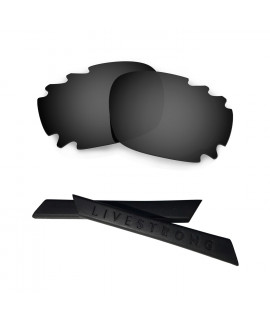 HKUCO Black Polarized Replacement Lenses plus Black Earsocks Rubber Kit For Oakley Racing Jacket Vented