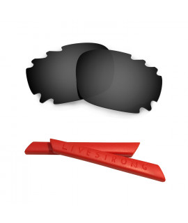 HKUCO Black Polarized Replacement Lenses plus Red Earsocks Rubber Kit For Oakley Racing Jacket Vented