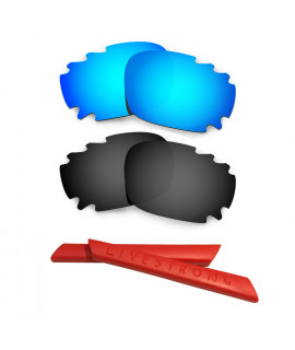 HKUCO Blue/Black Polarized Replacement Lenses plus Red Earsocks Rubber Kit For Oakley Racing Jacket Vented