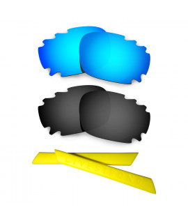 HKUCO Blue/Black Polarized Replacement Lenses plus Yellow Earsocks Rubber Kit For Oakley Racing Jacket Vented