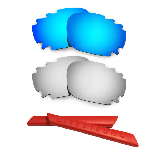 HKUCO Blue/Titanium Polarized Replacement Lenses plus Red Earsocks Rubber Kit For Oakley Racing Jacket Vented