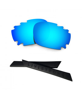 HKUCO Blue Polarized Replacement Lenses plus Black Earsocks Rubber Kit For Oakley Racing Jacket Vented