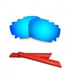 HKUCO Blue Polarized Replacement Lenses plus Red Earsocks Rubber Kit For Oakley Jawbone Vented