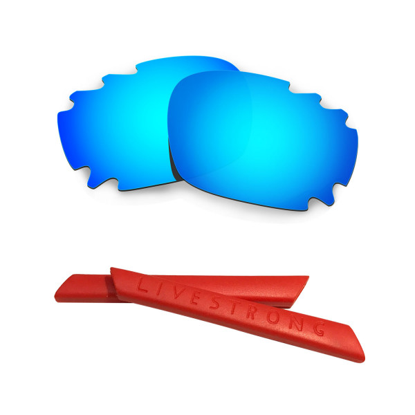 HKUCO Blue Polarized Replacement Lenses plus Red Earsocks Rubber Kit For Oakley Racing Jacket Vented