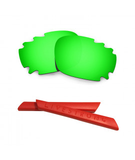 HKUCO Green Polarized Replacement Lenses plus Red Earsocks Rubber Kit For Oakley Jawbone Vented