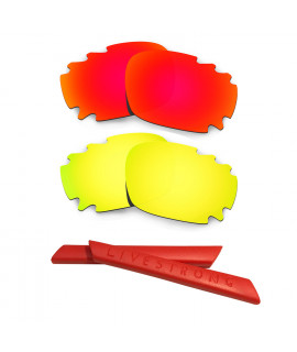 HKUCO Red/24K Gold Polarized Replacement Lenses plus Red Earsocks Rubber Kit For Oakley Racing Jacket Vented