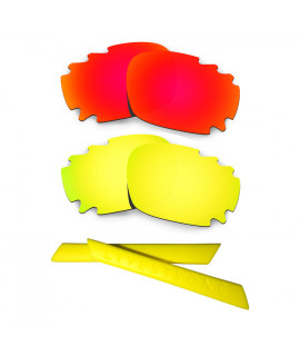 HKUCO Red/24K Gold Polarized Replacement Lenses plus Yellow Earsocks Rubber Kit For Oakley Racing Jacket Vented