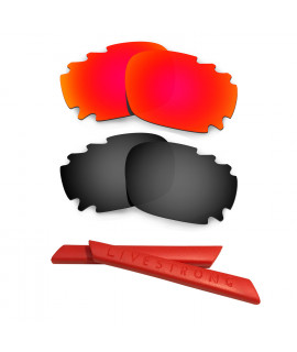 HKUCO Red/Black Polarized Replacement Lenses plus Red Earsocks Rubber Kit For Oakley Racing Jacket Vented