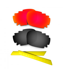 HKUCO Red/Black Polarized Replacement Lenses plus Yellow Earsocks Rubber Kit For Oakley Racing Jacket Vented